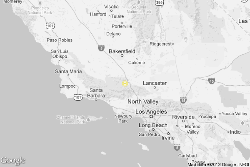 A map shows the approximate location of the epicenter of Wednesday morning's quake near Frazier Park.