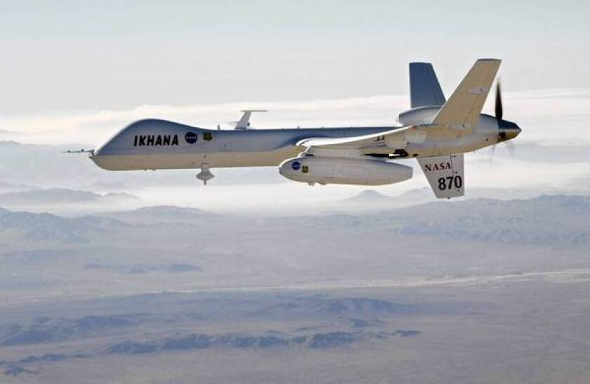 NASA's Ikhana unmanned aircraft heads out to aid in fighting a wildfire at Lake Arrowhead. Law enforcement agencies in the U.S. are making increasing use of such craft.