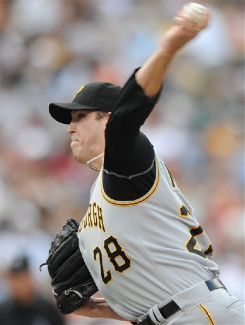 Pittsburgh Pirates pitcher Paul Maholm delivers against the Baltimore Orioles in the third inning of a baseball game Sunday, June 15, 2008 in Baltimore. (AP Photo/Gail Burton)