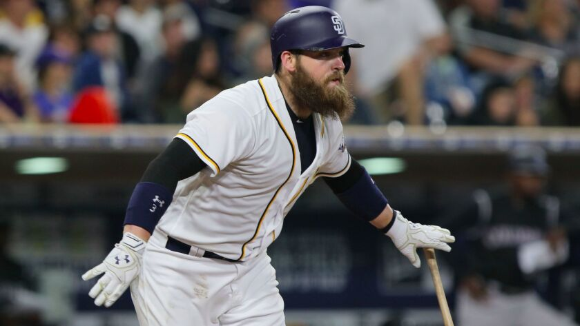 Padres' Derek Norris connects for a single.