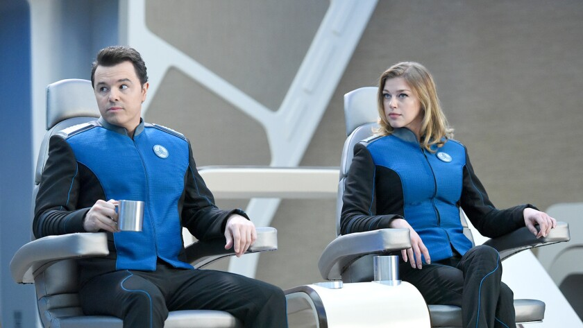 "Seth MacFarlane and Adrianne Palicki in ""The Orville"" on Fox."