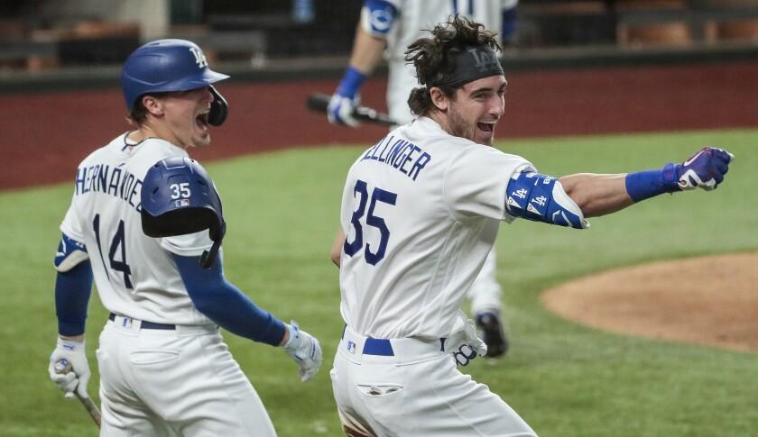 Dodgers center fielder Cody Bellinger homers in the seventh inning.