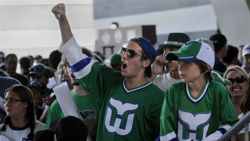 To the chagrin of Whalers fans, the team's green jerseys, pictured here at the Whaler Fan Fest at Rentschler Field in 2010, will make a return to the ice this season when the Carolina Hurricanes wear them on two occasions.