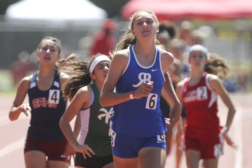 Rancho Bernardo's Jacey Farmer finishes first in the 800 meters at the San Diego Section track and field championships on Saturday.