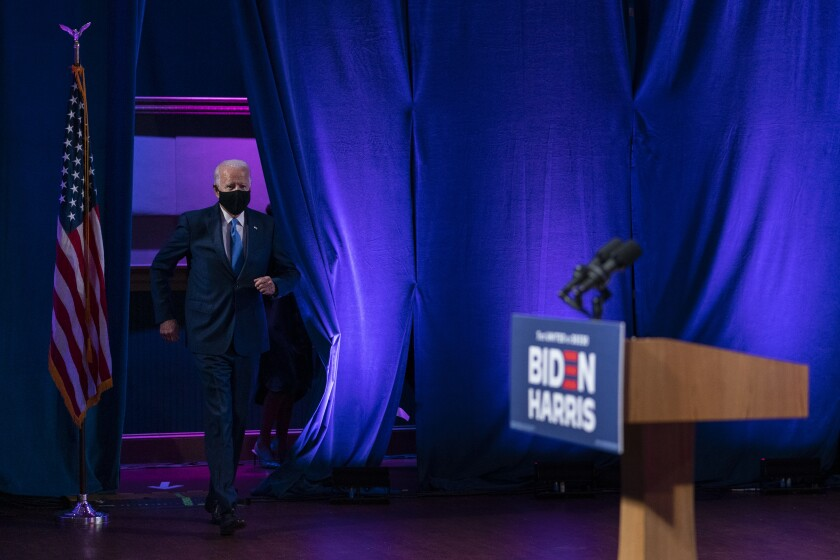 Democratic presidential candidate former Vice President Joe Biden arrives to speak in Wilmington, Del., Wednesday, Sept. 2, 2020, about school reopenings. (AP Photo/Carolyn Kaster)