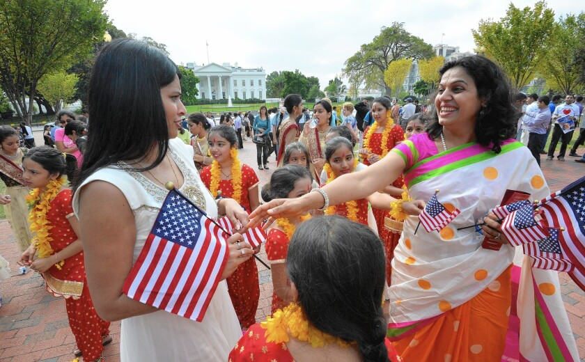 Indian people gather outside the White House during Indian Prime Minister Narendra Modi's visit.