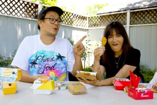 Food columnist Lucas Kwan Peterson and Jenn Harris taste test chicken nuggets.