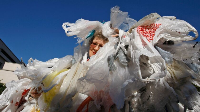 Laurie Gould of Pasadena is covered with 600 bags during a rally in support of a ban on plastic bags on November 16, 2010.