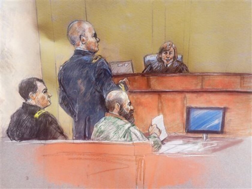 File - In this Aug. 8, 2013 file courtroom sketch, Maj. Nidal Hasan, second from right, sits with his standby defense attorneys Maj. Joseph Marcee, left, and Lt. Col. Kris Poppe, second from left, as presiding judge Col. Tara Osborn looks on, during Hasan's trial, in Fort Hood, Texas. Testimony has been moving so quickly during the military trial of the soldier accused in the 2009 Fort Hood shooting rampage that the judge decided to give jurors extra time on Monday in between witnesses to finish
