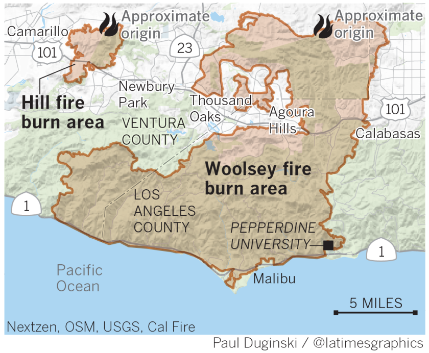 Map of Woolsey and Hill fires in Southern California, Nov. 8, 2018.