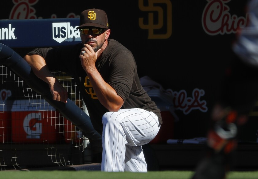 Padres manager Jayce Tingler looks on during a game against the San Francisco Giants