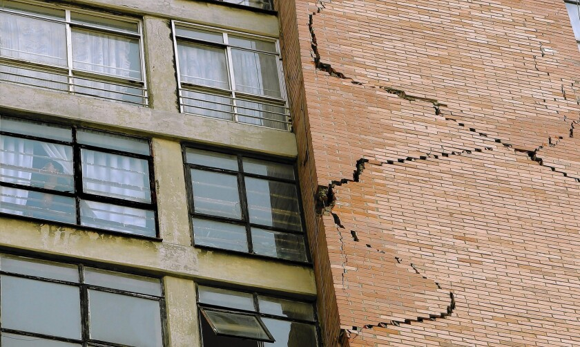 A building in Mexico City shows significant cracks after the magnitude 7.2 quake that struck Friday morning. No injuries were reported in the capital, but it was unclear how communities closer to the epicenter, in Guerrero state, had fared.