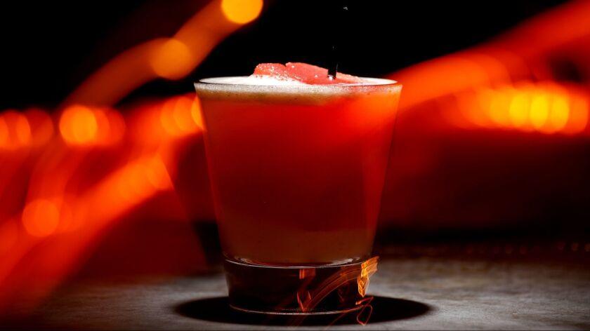 LOS ANGELES, CALIF. -- THURSDAY, MAY 24, 2018: Bartender Fredy Garcia's favorite drink the Warlock o