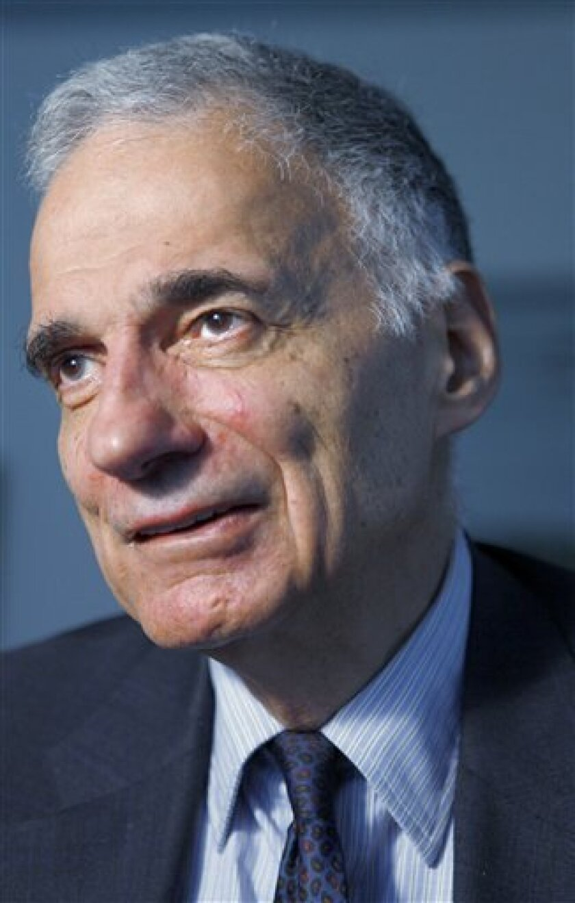 FILE - In this Aug. 20, 2009 photo, Ralph Nader is speaks in Washington. Nader didn't have any luck in Washington, D.C., with a lawsuit alleging a conspiracy to keep him off the 2004 presidential ballot. So he's taking his case to Washington County, a sparsely populated locale at the nation's easternmost tip. The lawsuit five years after President George W. Bush beat Democrat John Kerry contends the Kerry campaign and Democratic leaders conspired to keep Nader off the ballot in Maine and more than a dozen other states. (AP Photo/Jacquelyn Martin, File)