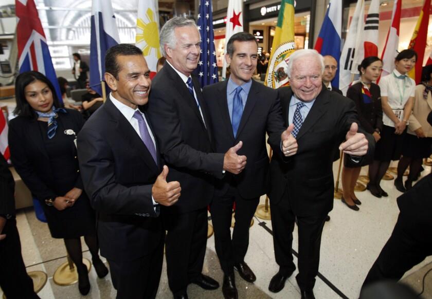 Former L.A. mayor Antonio Villaraigosa (left) during a recent appearance with former mayor James Hahn, current Mayor Eric Garcetti and former mayor Richard Riordan.