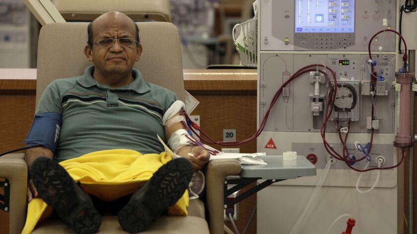 Giraldo Garcia, 54, receives dialysis treatment at DaVita Dialysis Center in Inglewood in 2014.