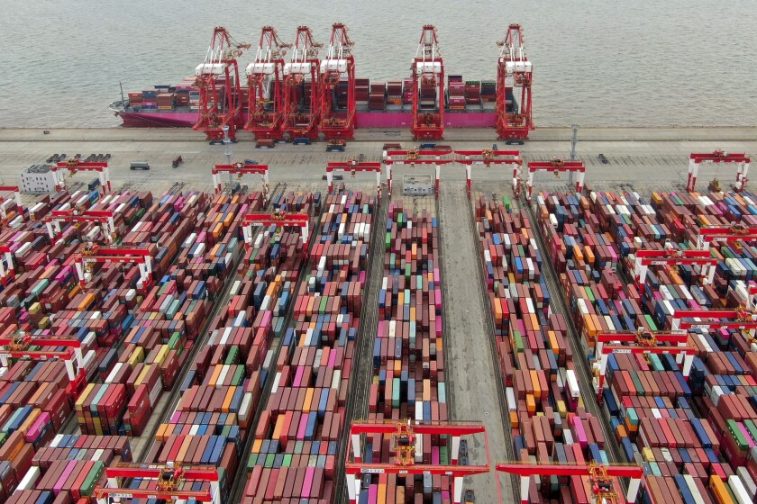 Containers at a port in Shanghai
