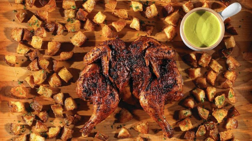 Peruvian-style roast chicken with jalapeno sauce