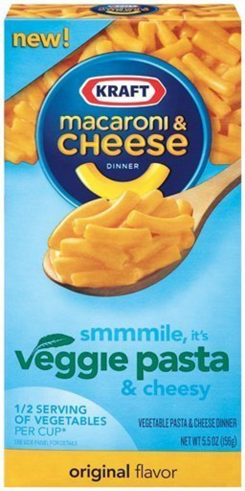 This product image courtesy of Kraft shows their vegetable pasta and cheese dinner, original flavor. It looks like Kraft Macaroni & Cheese, and Kraft says it tastes just like the original. But a new ingredient is lurking inside this version of the American family dinner staple _ cauliflower. (AP Ph