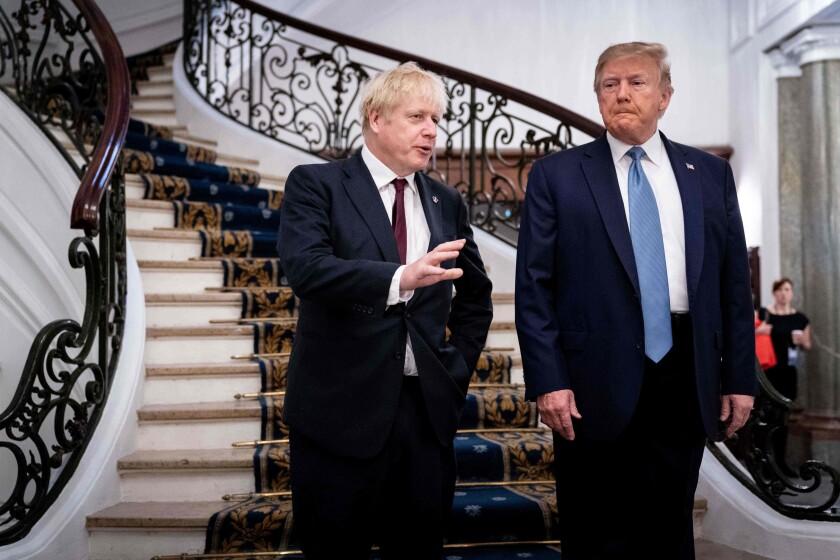 British Prime Minister Boris Johnson and President Trump at the G-7 summit