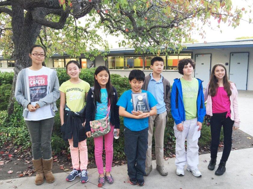 Carmel Valley Middle's successful Quizbowl teams: Jeanne Zheng, Caroline Bao, Ashley Zhang, Wesley Zhang, Allen Huang, John Finkelman and Natalia Zorrilla.