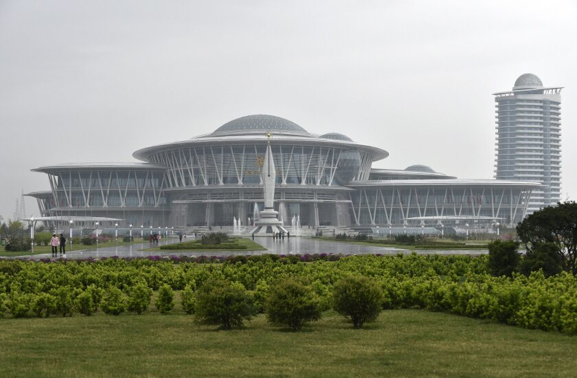 View of the Sci-Tech Complex in Pyongyang, North Korea, on April 16, 2016.