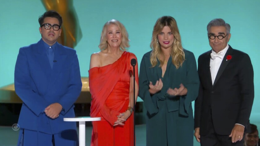 A screen grab of two women flanked by two men at Emmys