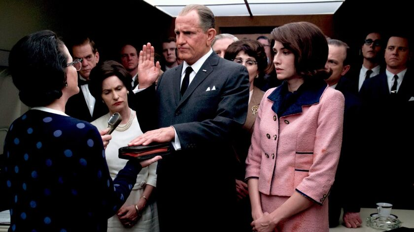 "Jennifer Jason Leigh, Woody Harrelson as 'Lyndon B. Johnson' and Kim Allen in the movie ""LBJ."" Credi"