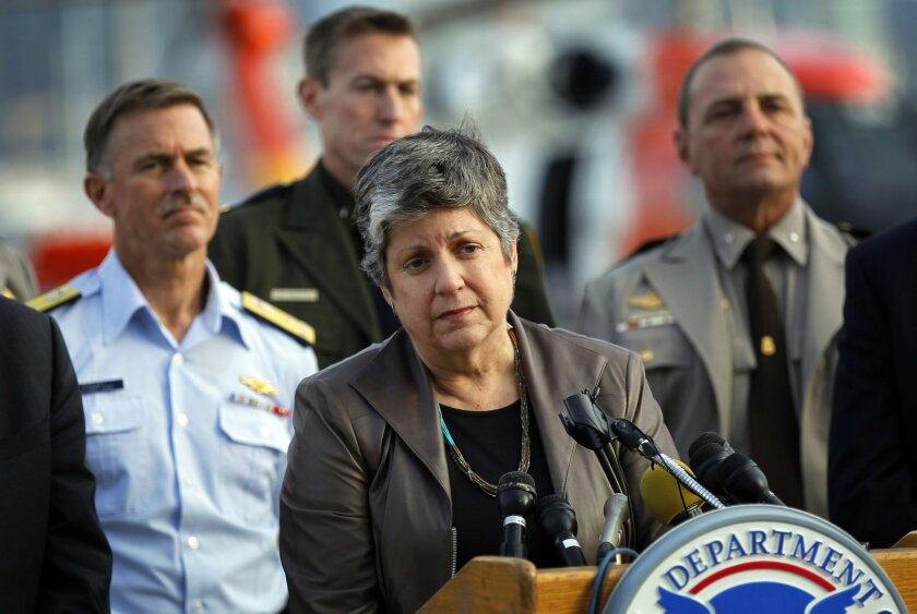 Homeland Security Secretary Janet Napolitano in San Diego.