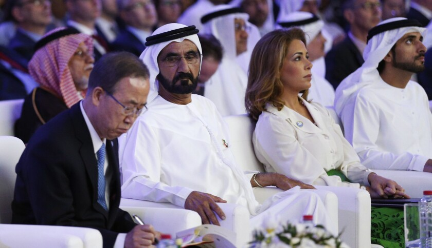 UAE Prime Minister and Dubai Ruler Sheikh Mohammed bin Rashid al-Maktoum,(2nd from L) sits next to his wife Princess Haya bint al-Hussein (C-R), United Nations Secretary-General Ban Ki-moon(L) and Dubai Crown Prince Sheikh Hamdan bin Mohammed bin Rashed al-Maktoum (R)during the presentation of a UN report on funding for humanitarian aid on January 17, 2016, in the Emirate of Dubai. / AFP / STRINGER (Photo credit should read STRINGER/AFP/Getty Images)