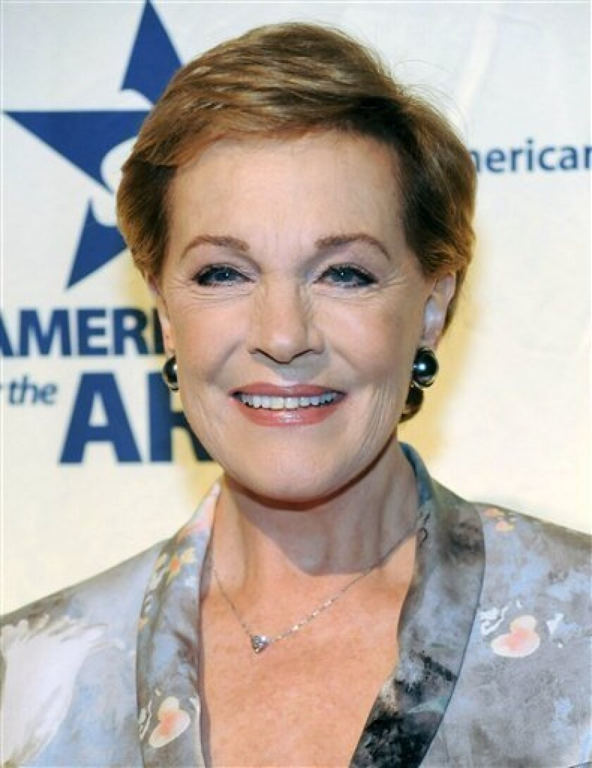 In this Oct. 6, 2008 file photo, Lifetime Achievement Award honoree Dame Julie Andrews attends the 2008 National Arts Awards presented by Americans For The Arts in New York. (AP Photo/Evan Agostini, file)