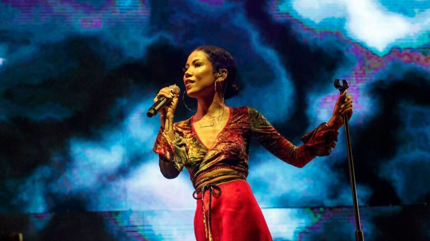 Jhene Aiko performing on the second night of the 2017 BET Experience at LA Live on June 23 at Staple