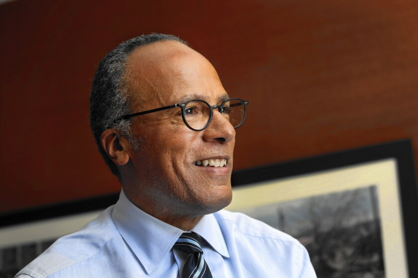 Anchor Lester Holt of NBC Nightly News in his office on June 22, 2015.