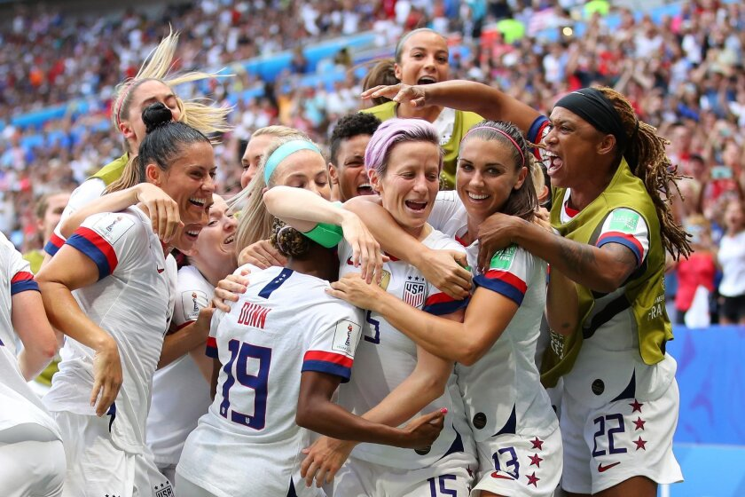 U.S. women's soccer team celebrates after its first goal in the Women's World Cup finals in 2019.