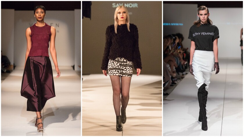 LA Fashion Week included runway shows by Vicken Derderian, left, Sav Noir, and Candice Cuoco and Vanessa Simmons' Bad Butterfly collaboration.