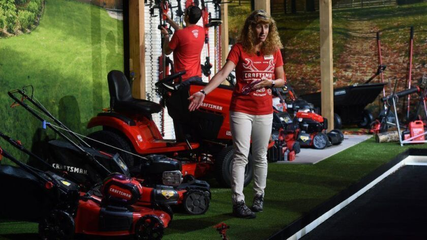 Christine Potter, vice president of outdoor power equipment, talks about Stanley Black & Decker's Craftsman mowers and their battery system on Aug. 16, 2018.