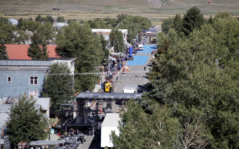 This Wednesday, Sept. 3, 2014 photo shows Elk Avenue as it is slowly transformed into a beer commercial set for ``Bud Light Blue,'' in Crested Butte, Colo. Anheuser-Busch agreed to pay $500,000 to convert the town into a set for a Bud Light commercial, a sequel to the company's ``Up for Whatever'' Super Bowl ad that included Arnold Schwarzenegger. (AP Photo/P. Solomon Banda)