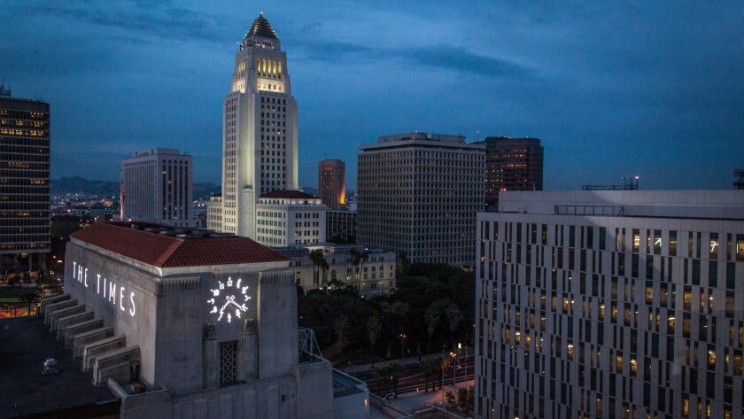Mar. 28, 2013: Photo of Los Angeles Times building and Los Angeles City Hall taken from roof of Time