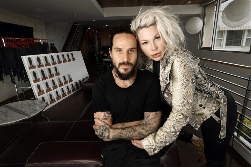 Unravel Project fashion designers Ben Taverniti and Joyce Bonelli Taverniti at their home and design studio in Hermosa Beach.
