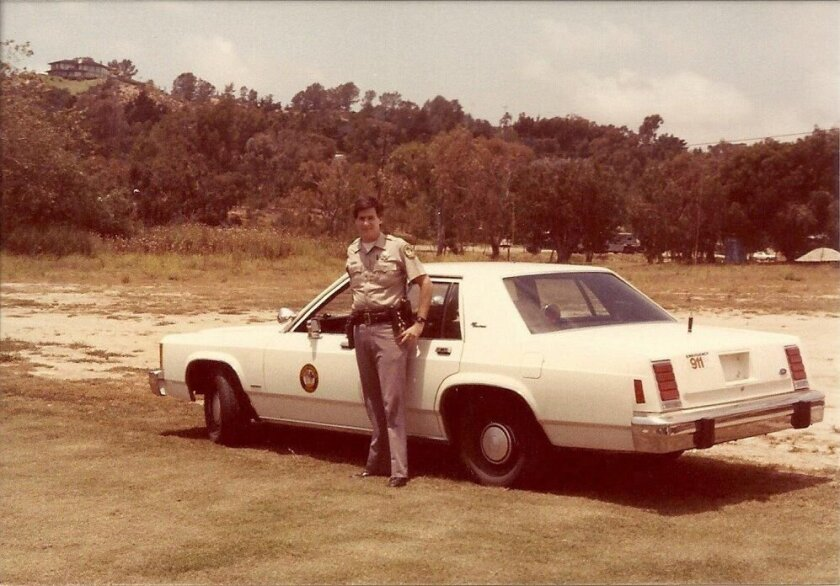 Chief Matt Wellhouser is in his 35th year with the Rancho Santa Fe Patrol. Pictured: Wellhouser in his early Rancho Santa Fe Patrol days. Courtesy photos