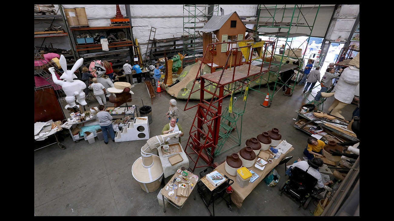Photo Gallery: Burbank float construction continues before Rose Parade
