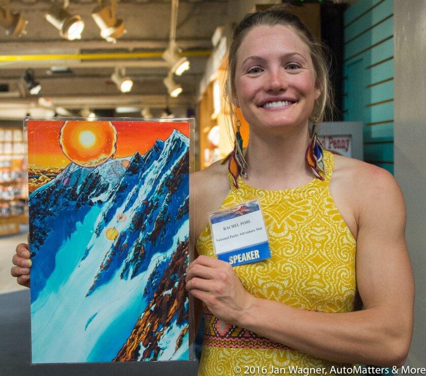 Rachel Pohl with her art.