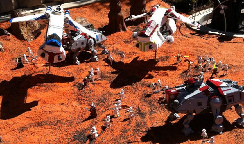 A battle scene on the planet Geonosis is part of Star Wars Miniland at Legoland California.