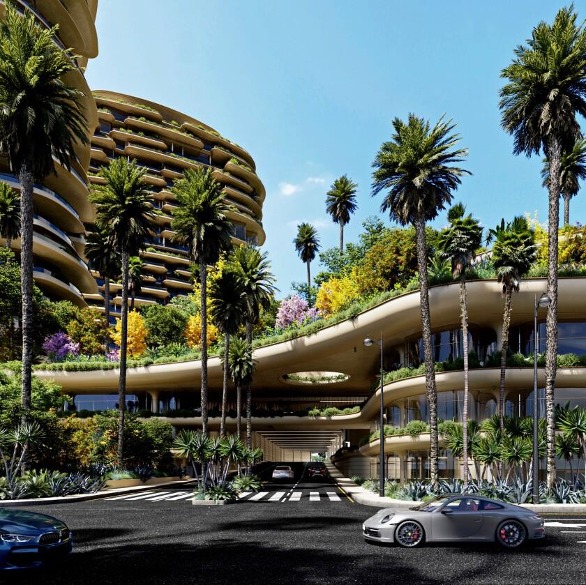 One Beverly Hills, Santa Monica Boulevard view