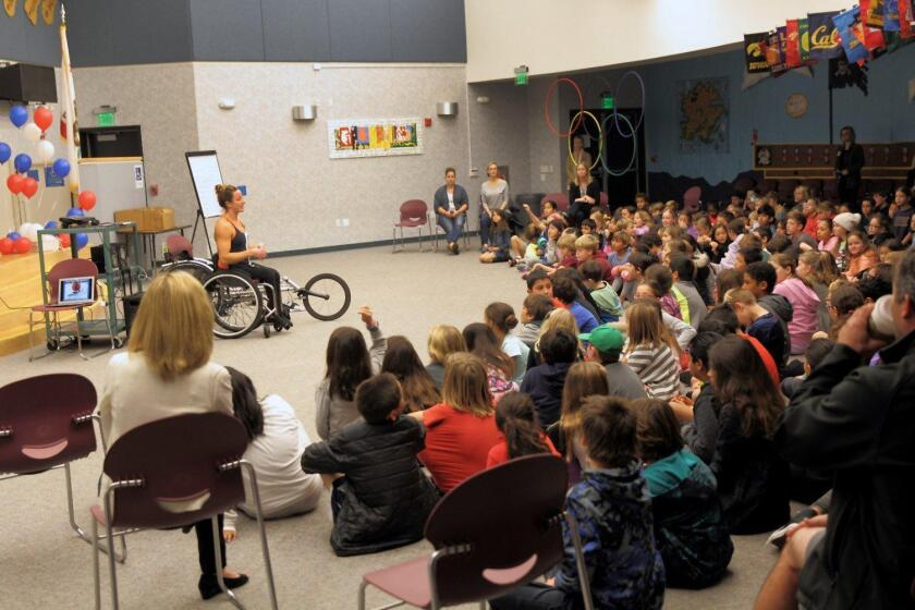 Award winning paralympic athlete Tatyana McFadden speaks at Del Mar Hills Academy.