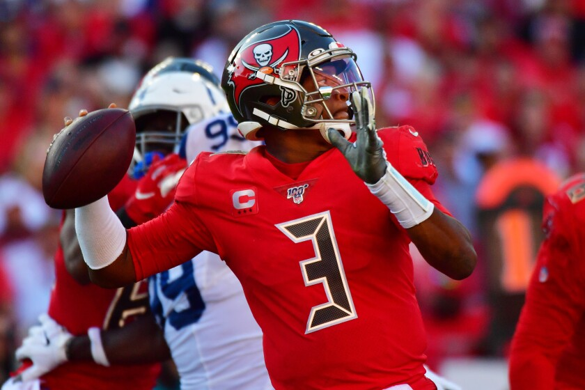 Tampa Bay Buccaneers quarterback Jameis Winston passes.