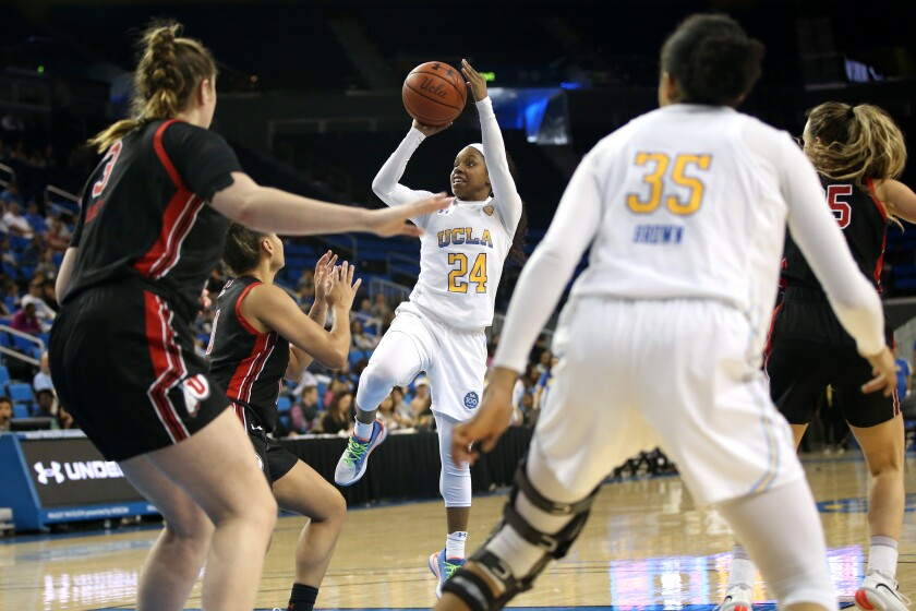 UCLA's Japreece Dean takes a shot during the Bruins' 77-54 victory over Utah at Pauley Pavilion on Sunday.