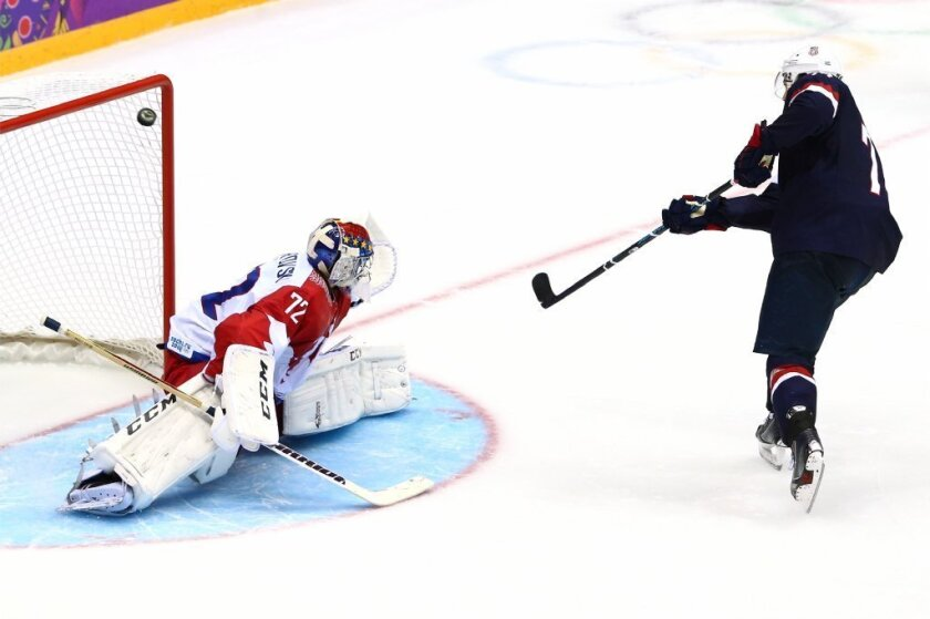 T.J. Oshie beats Russian goalie Sergei Bobrovski to score the game-winning goal for the U.S. in the eighth shootout period.