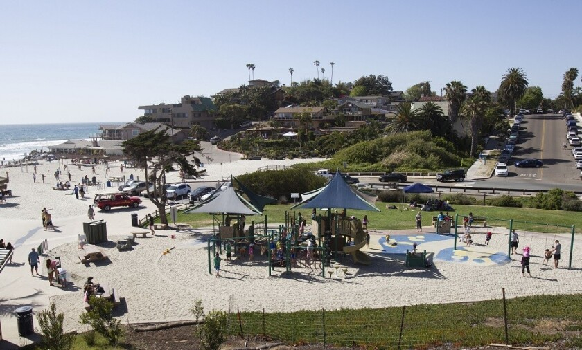 A view of the playground at Moonlight Beach in Encinitas, a popular spot with tourists and visitors.