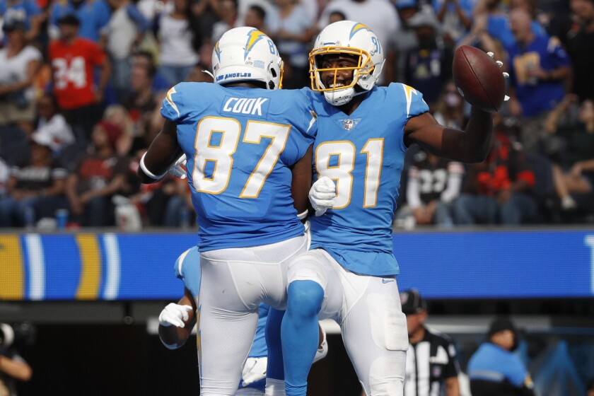INGLEWOOD, CA - OCTOBER 10, 2021: Los Angeles Chargers wide receiver Mike Williams (81) celebrates.